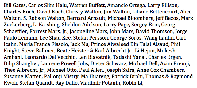 People asking the names of the 62 who own as much as 3.6 billion people (src: https://t.co/rNhHY5bCj1). Here you go: https://t.co/CtllN4G7xw