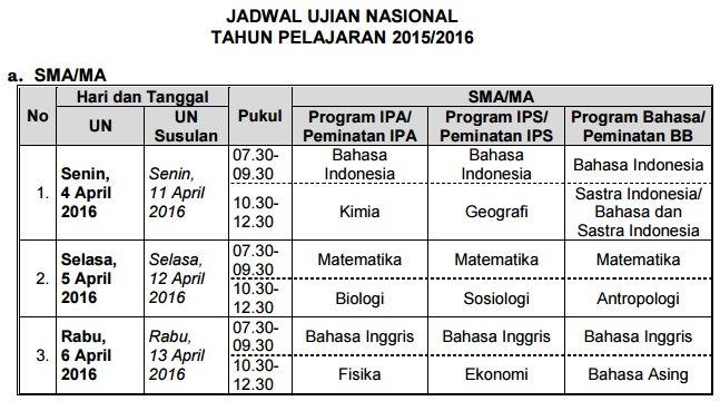 Jadwal UN SMA dan MA 2016