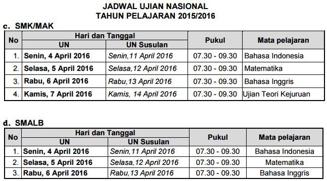 Jadwal UN SMK dan SMA LB