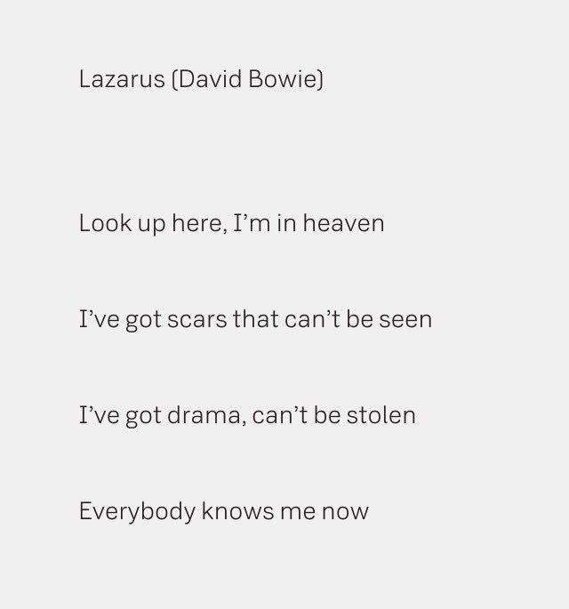 David Bowie's lyrics to Lazarus, his last single, are very moving. #DavidBowie https://t.co/dwrsgfNs86