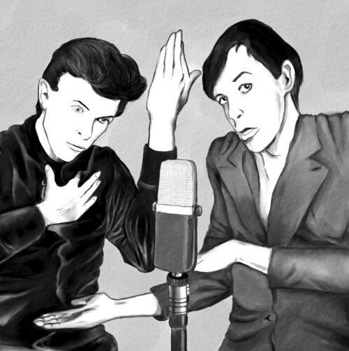 追悼。昔描いたイラストです。ボウイとイギーの漫才。 https://t.co/ktJ0aIIYAk