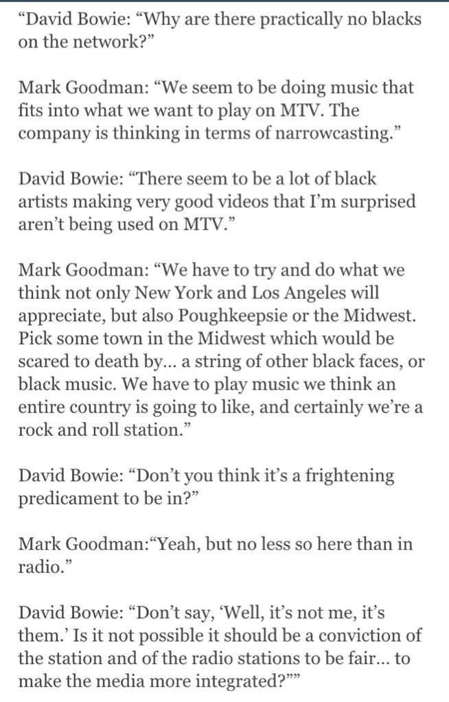 There are many reasons to love David Bowie. Here's one. 1982: challenging  MTV on their refusal to play black music: https://t.co/0ku30wccVG