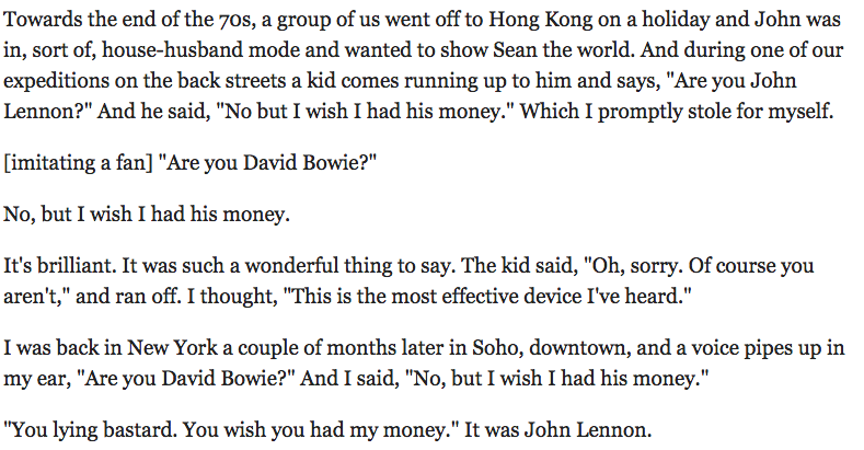 Bowie on being friends with Lennon https://t.co/njlPPRf64f https://t.co/5ol1KqSUMa