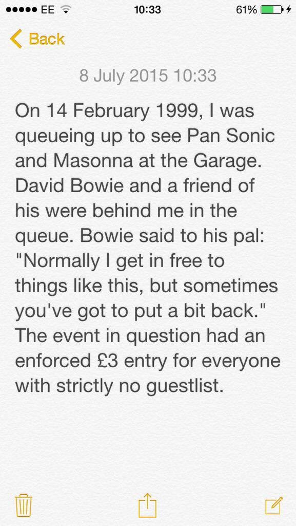 Time to dust down my daft old Bowie anecdote. https://t.co/tbfOntZr9Y