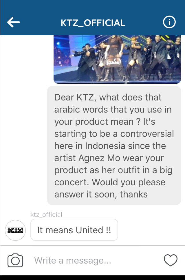 Baru dapat konfirmasi dari brand KTZ tentang outfit @agnezmo, yang artinya UNITED. #AGNEZMOIndosiar21 https://t.co/89xn83MLkY