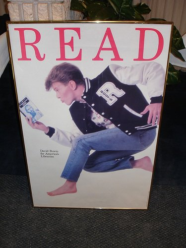 Remembering David Bowie. David Bowie for American Library Association, Read Campaign poster 1987 https://t.co/74YPXkswxH