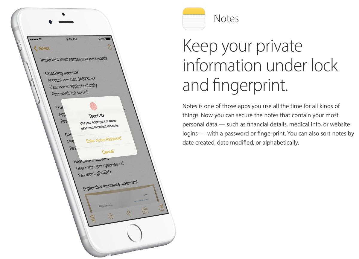 Keep notes secure with Touch ID on iOS 9.3. Oh wait, I can read the passwords behind Touch ID prompt.