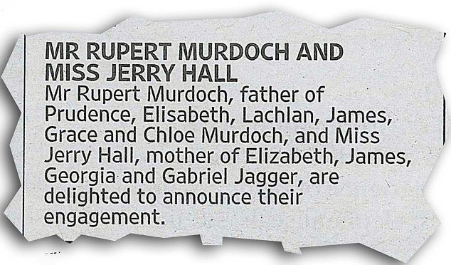 Jerry Hall, 59, and Rupert Murdoch, 84, announce their ENGAGEMENT in newspaper advert https://t.co/1swKA4zRgR https://t.co/9iVEoHwr04