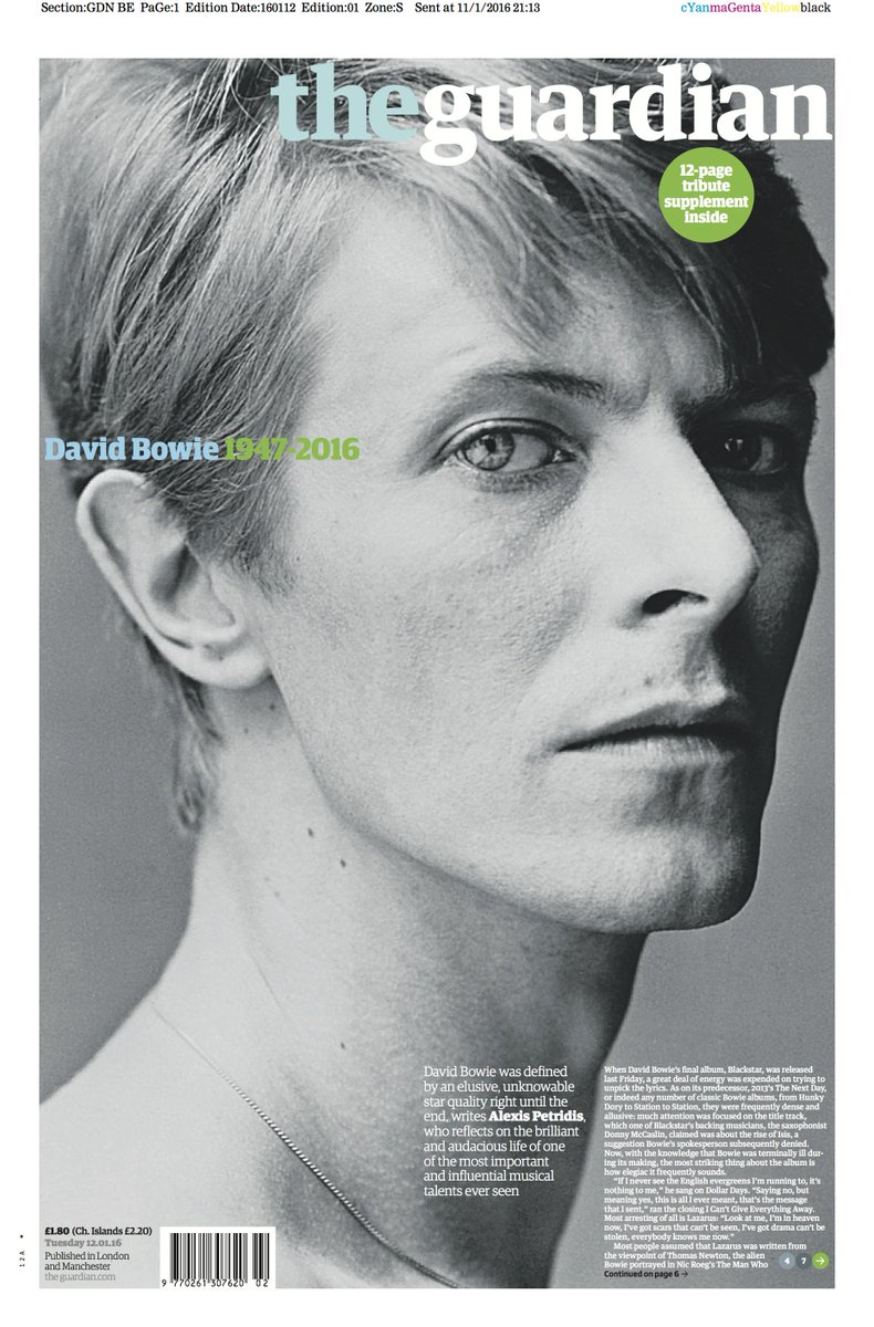The Guardian front page, Tuesday 12 January 2016: David Bowie 1947-2016 https://t.co/syFQEAQ5A2