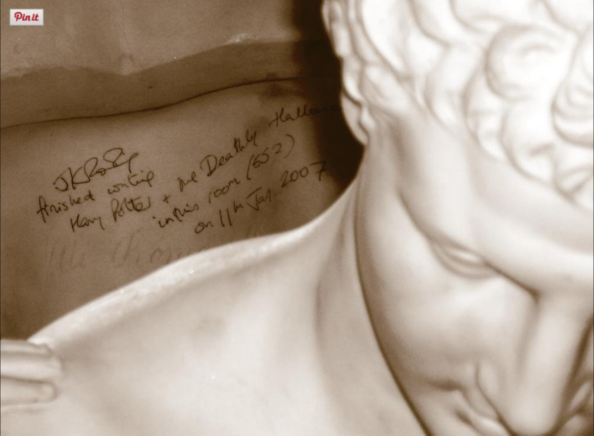 Finished Hallows 9 yrs ago today. Celebrated by graffiti-ing a bust in my hotel room. Never do this. It's wrong.