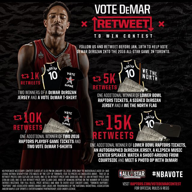 Raps fans it's time to unite and get @DeMar_DeRozan into the All-Star Game. RT this and you could win BIG. #NBAVote https://t.co/dgM1U9jnQI