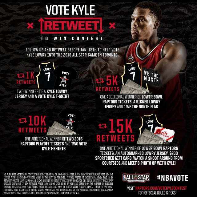 Raps fans it's time to unite and get @Klow7 into the All-Star Game. Retweet this and you could win BIG. #NBAVote