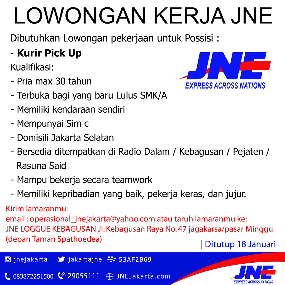 Jne Express Jakarta Ar Twitter Lowongan Kerja Jne Lowongan