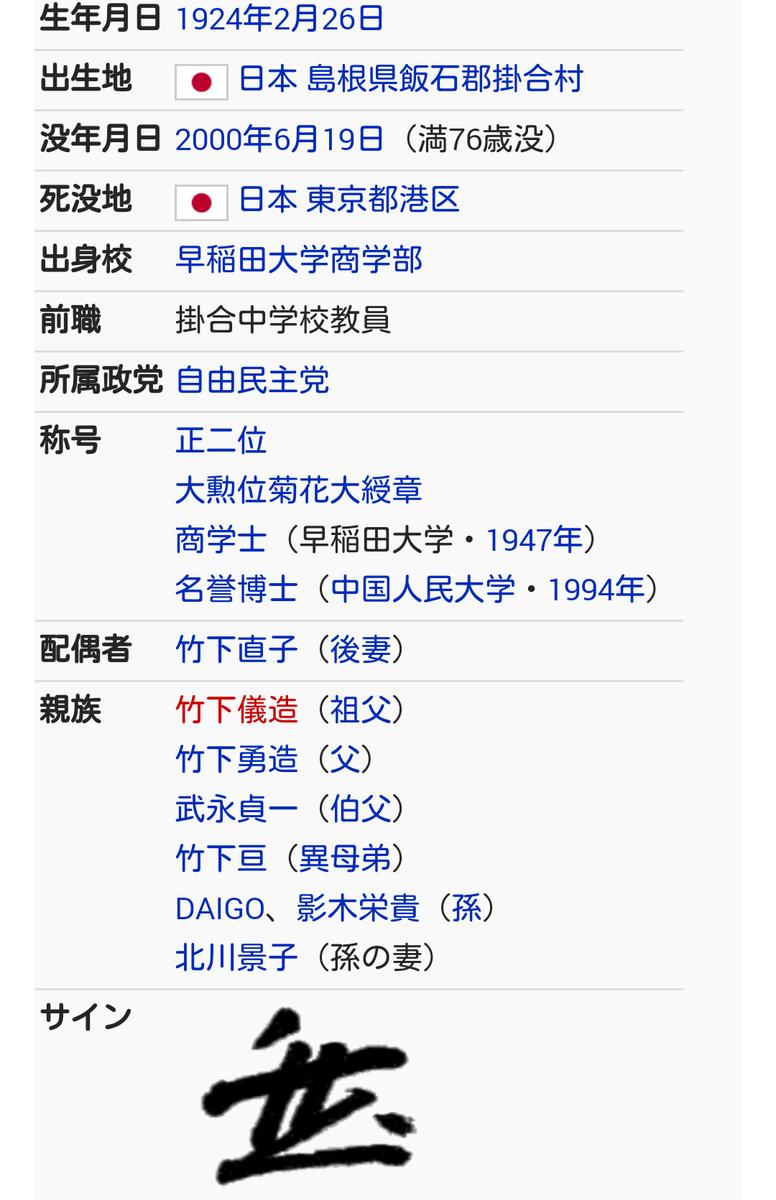 "Keita🎈 on Twitter: ""竹下登のウィキペディアの親族に北川景子が追加 ..."