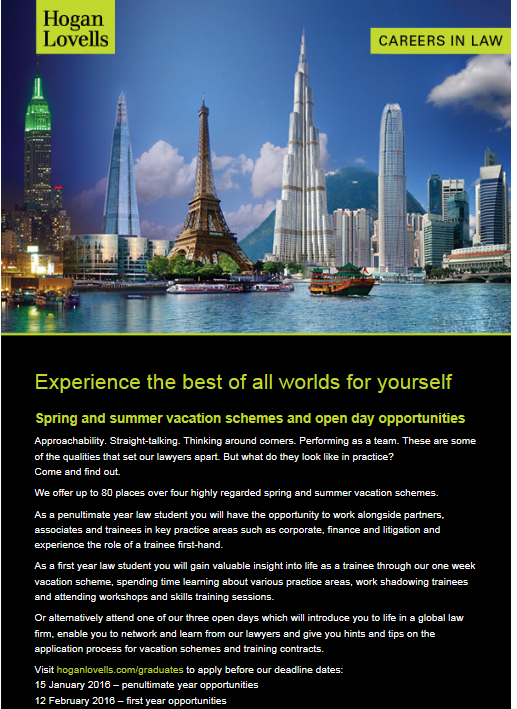 Hogan Lovells Summer Vacation Scheme Dates