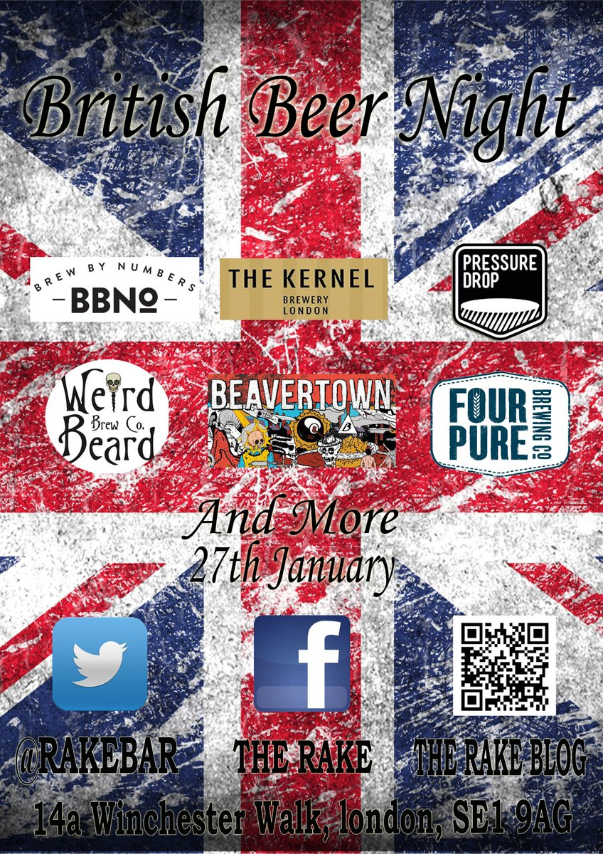 British Beer Night on 27th January! Plenty of British breweries to choose from. https://t.co/TYTCVXUIs4