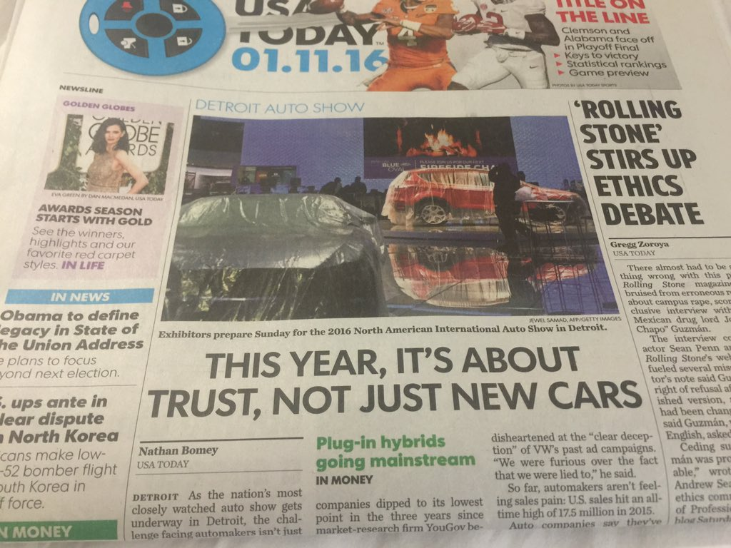 USA Today front page, above fold, coverage @USAtoday by @NathanBomey @NAIASDetroit @cobocenter @VisitDetroit https://t.co/n9A3oWSM9p