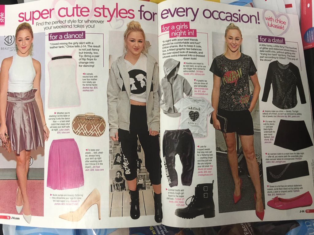 Spotted on this Tuesday morning in @J14Magazine our friend @ChloeLukasiak rocking #boymeetsgirl . Love this spread https://t.co/0pgKiiK4Ym