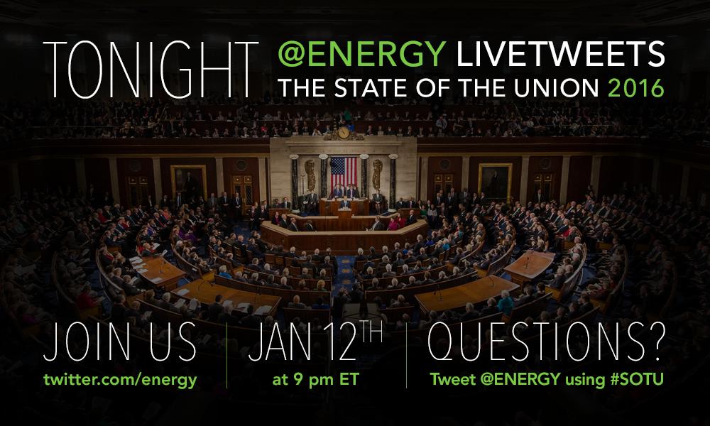 TONIGHT: We'll be tweeting all things #energy during #SOTU! → https://t.co/lLcQlKbggQ https://t.co/3z04JnDU8q