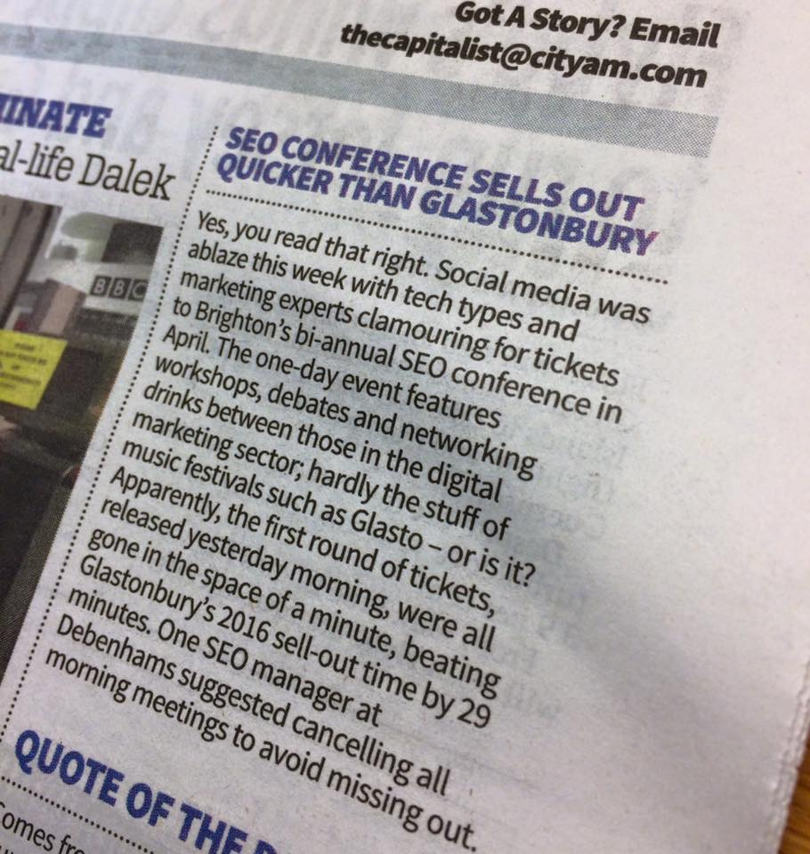 Found out #brightonSEO got written about in @CityAM newspaper for London City types. Not a bad start to the week... https://t.co/W0ZNTPNvGg