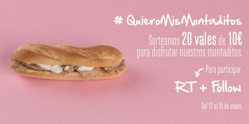 Sorteamos 20 vales de 10€ #QuieroMisMontaditos ✌  Para participar RT+Follow BBLL: https://t.co/x6joRPYHrm https://t.co/3J7SODg1Hp