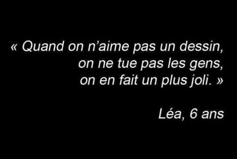 La phrase du jour, par la rédaction de Vannes. Léa, 6ans. #JeSuisCharlie