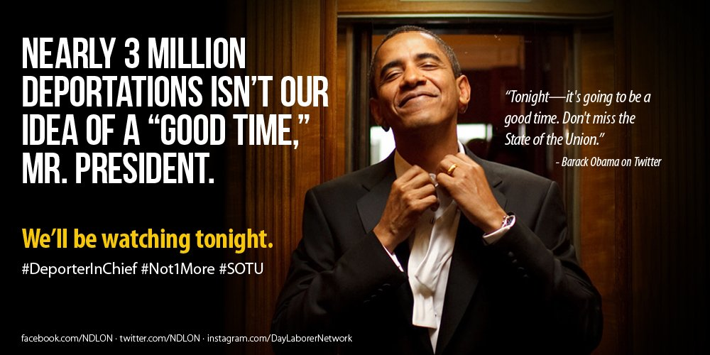 "Nearly 3 million deportations isn't our idea of a ""good time,"" @BarackObama . #immigration #sotu #not1more #ofa https://t.co/ACzlebqZnX"