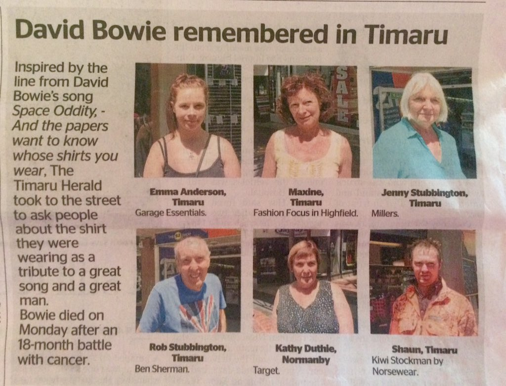 """""""And the papers want to know whose shirts you wear..."""" Frankly genius local angle in the @TimaruHerald:  #DavidBowie https://t.co/1gIsNn9PEr"""