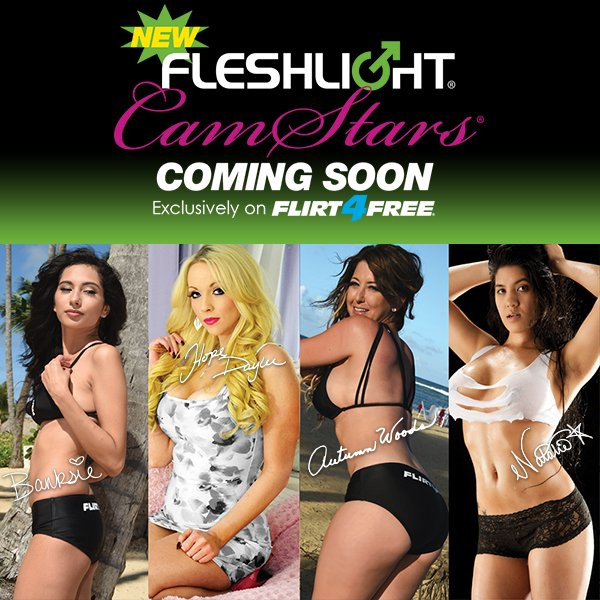 RT @Flirt4Free: New @Fleshlight #CamStars coming soon! Meet them at @AEexpo @Banksie231 @HopeDaylee @Autumnwoods13