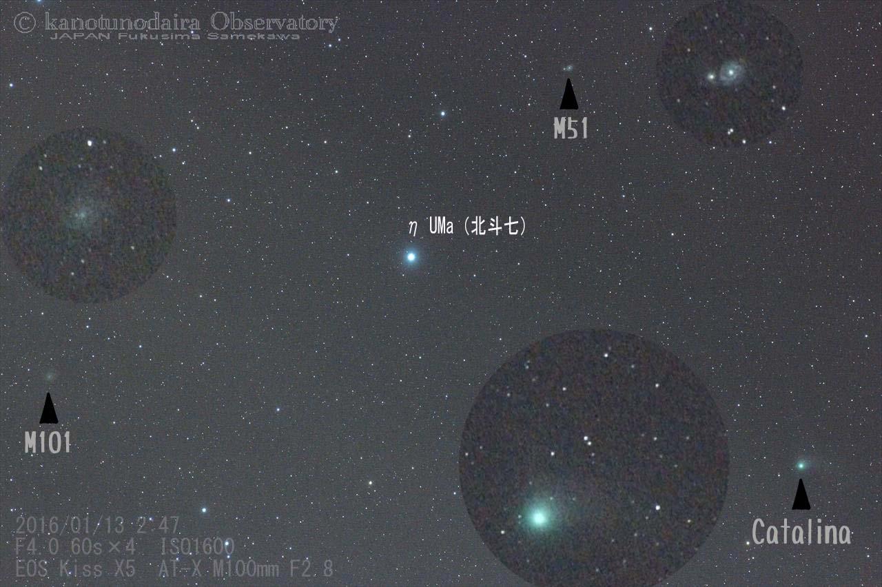 北斗七に近づくカタリナ彗星
