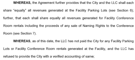 I see 1 genuine conflict: whether Mavs failed to pay City parking $$$. City alleges so and wants to see HD books. https://t.co/60KtuiwGi0