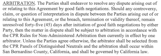 But per agreement, disputes are to be handled through arbitration, not unilateral termination. Has this been tried? https://t.co/fro6LWkW8r