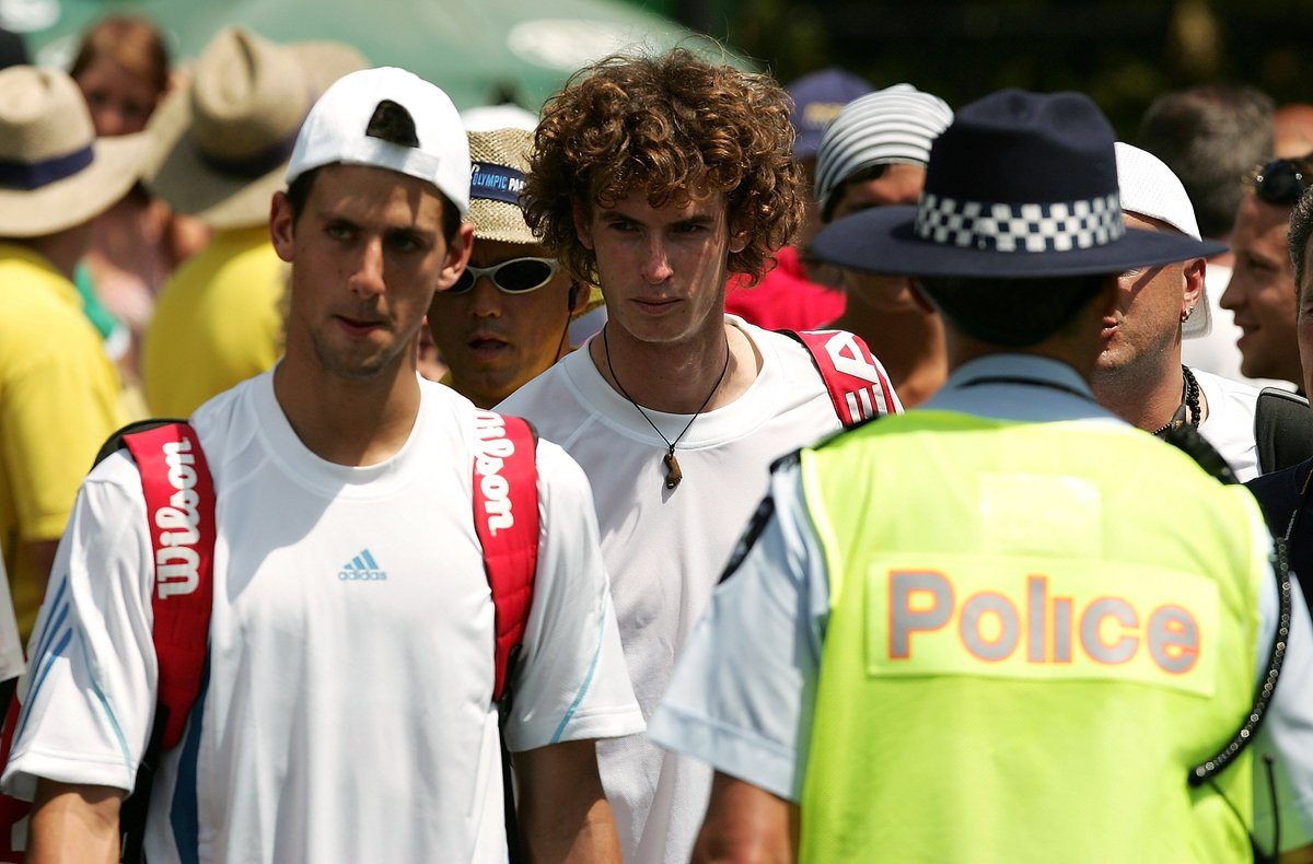 Blast from the past! @DjokerNole & @andy_murray arriving for doubles match at 2006 #AusOpen. https://t.co/84lsp9klUp