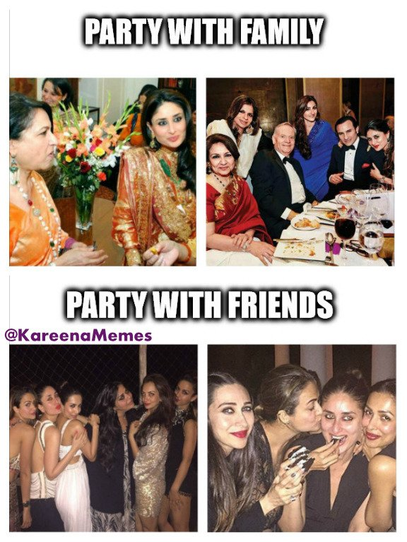 kareena kapoor memes on twitter partying with family vs partying