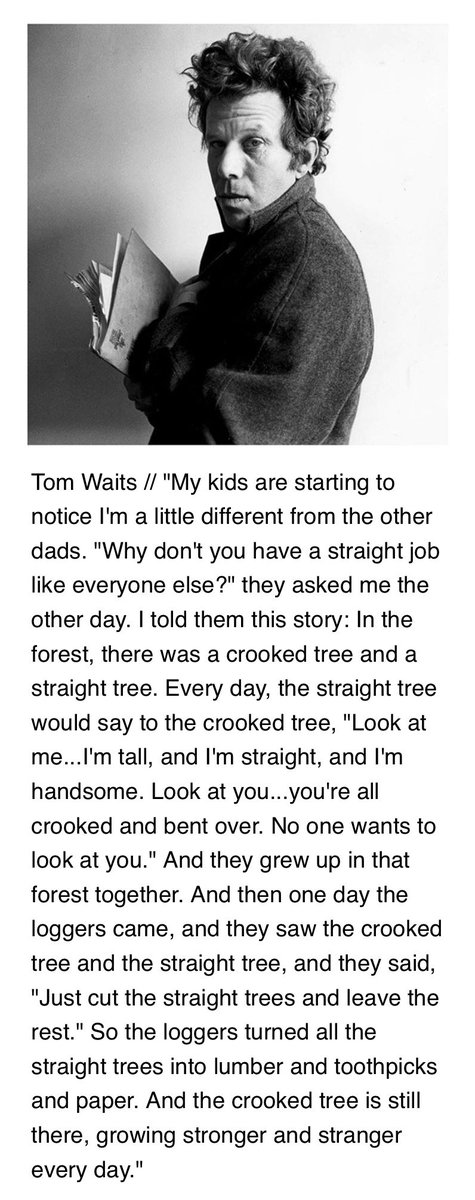 going to steal this one from my buddy, Eliot, but this Tom Waits quote is absolutely profound: https://t.co/8ngvSDsEBS