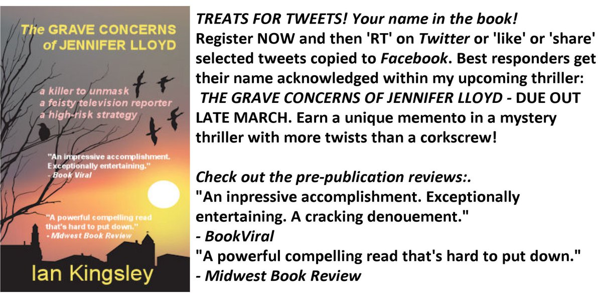 #jenlyd Treats for Tweets! Get your name printed in my mystery thriller out in March! https://t.co/TX3LdtKF4Y https://t.co/1IO3LSfr49