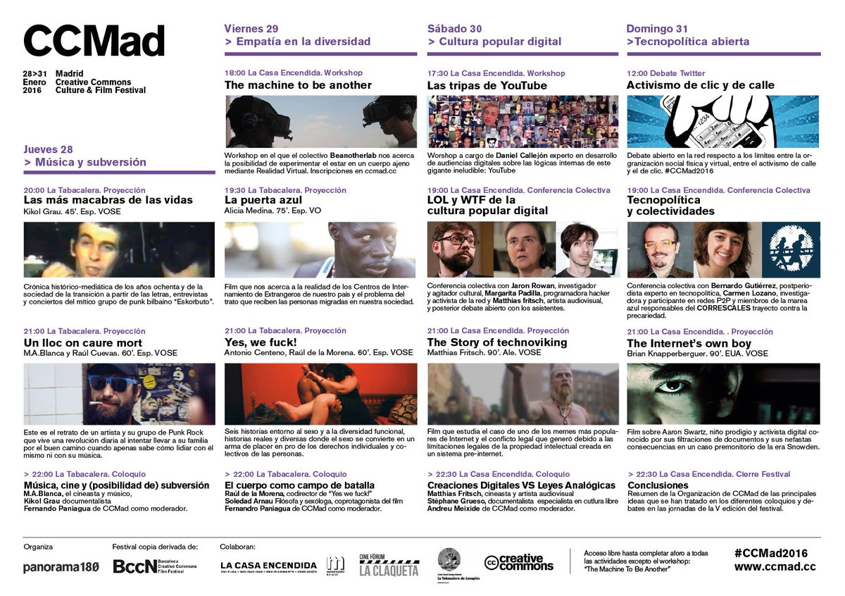 V edición Madrid CC Culture & Film Festival #CCMad2016 https://t.co/AMmXNLwXW7 @LaCasaEncendida @tabakalera https://t.co/QPLL2BL3lC