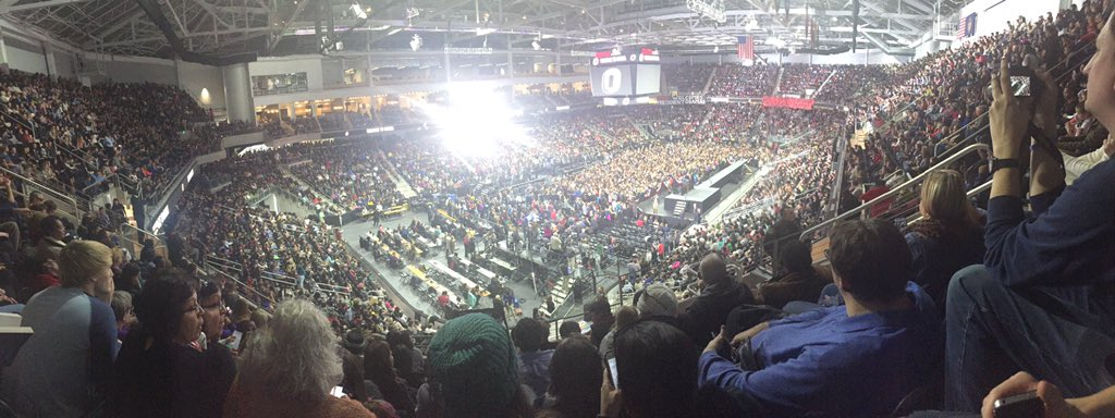 It's packed up in here! Closer to see @POTUS than @JanetJackson though :) #POTUSatUNO https://t.co/ZYKdPETZWp