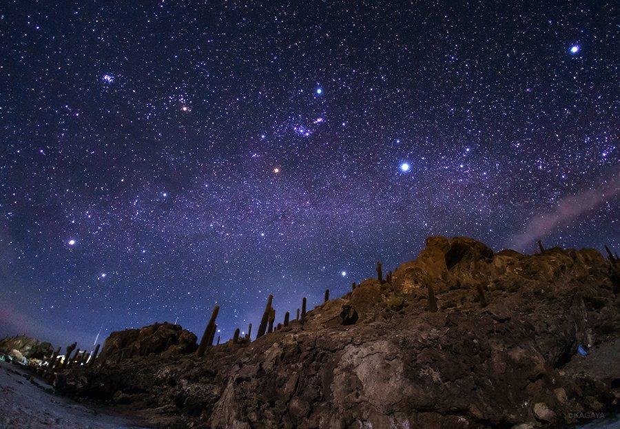 日が暮れると、インカ・ワシ島の上に天の川が横たわっていました。近くの村まででも数十kmはあり、見事な星空です。島は細い月に照らされています。 pic.twitter.com/wIbPfb6Aa3