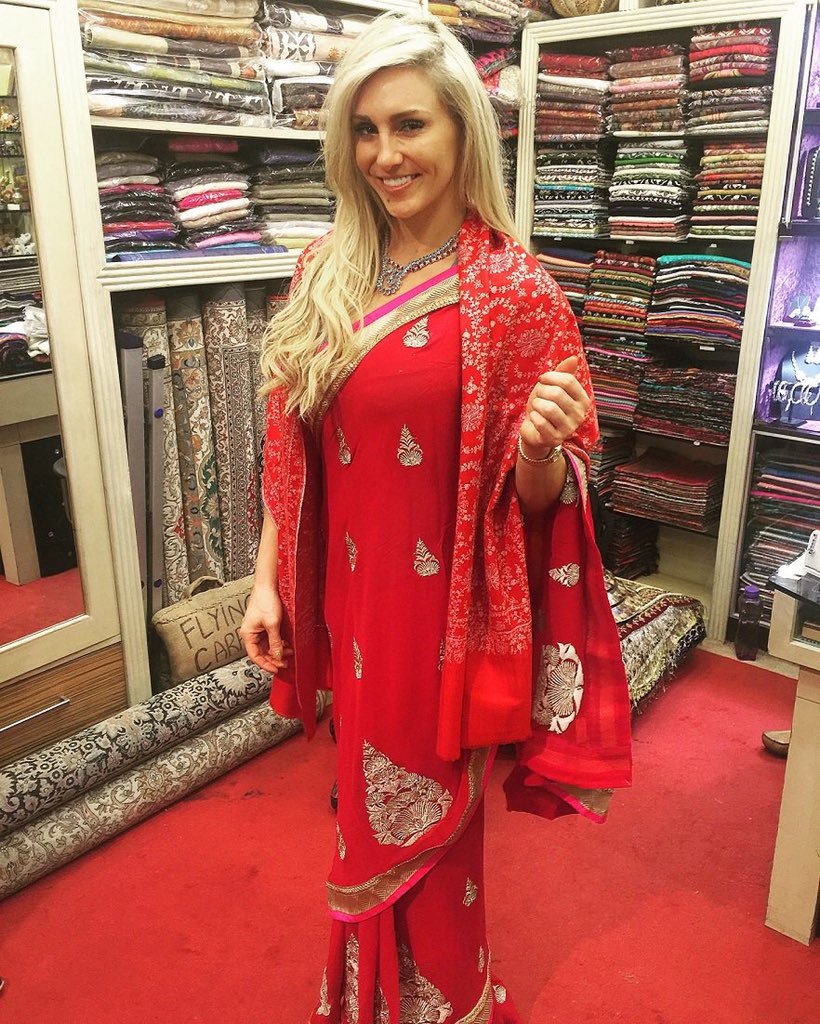 charlotte flair on twitter now i 39 m ready for wweliveindia if you 39 re gonna wear a saree wear. Black Bedroom Furniture Sets. Home Design Ideas