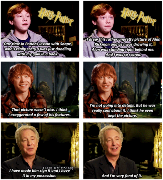 I've always enjoyed this story of Alan Rickman bonding with a young Rupert Grint on the set of Harry Potter. https://t.co/vMzaOsSB9o