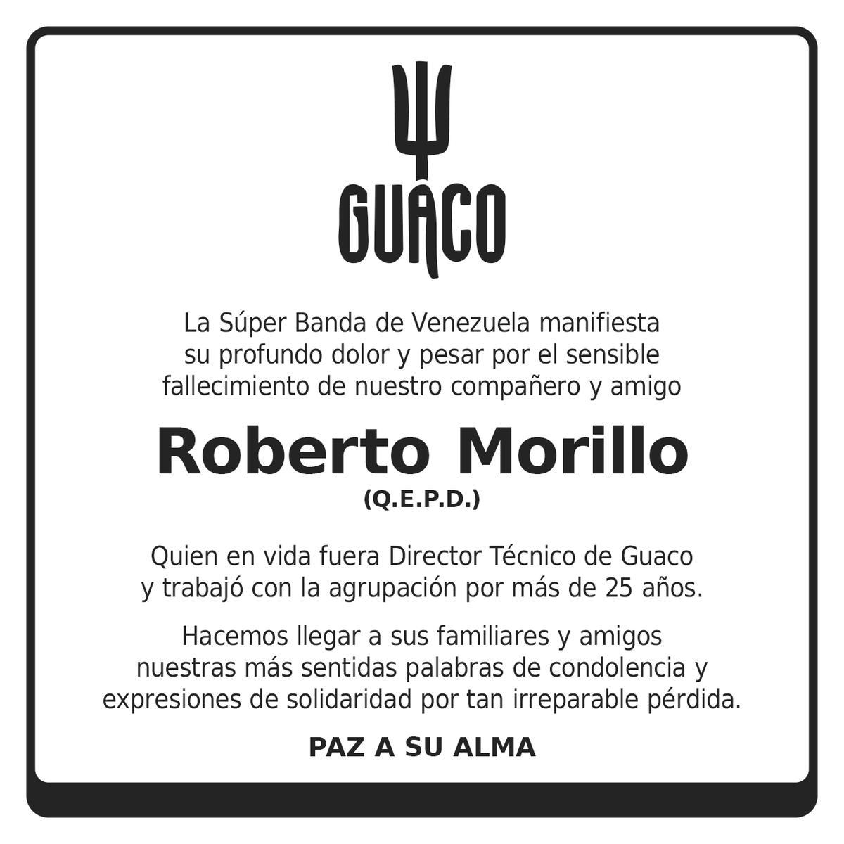 Ψ GUACO manifiesta su profundo dolor por el fallecimiento de nuestro Director Técnico Roberto Morillo. Paz a su alma https://t.co/B7ZFHoVmzm