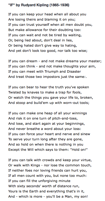 Ian Cassel On Twitter Charlie Munger S Favorite Poem If You Can Keep Your Head When All About You Are Losing Theirs Https T Co Cwdle4c3xt If you can keep your head when all about you are losing theirs and blaming it on you; charlie munger s favorite poem