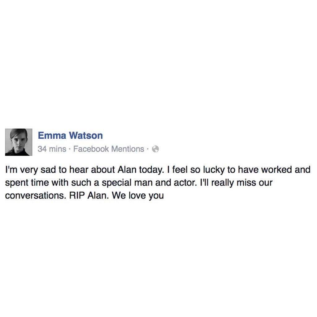 Emma Watson on the death of Alan Rickman. #RIPAlanRickman https://t.co/IBDdmReG2V