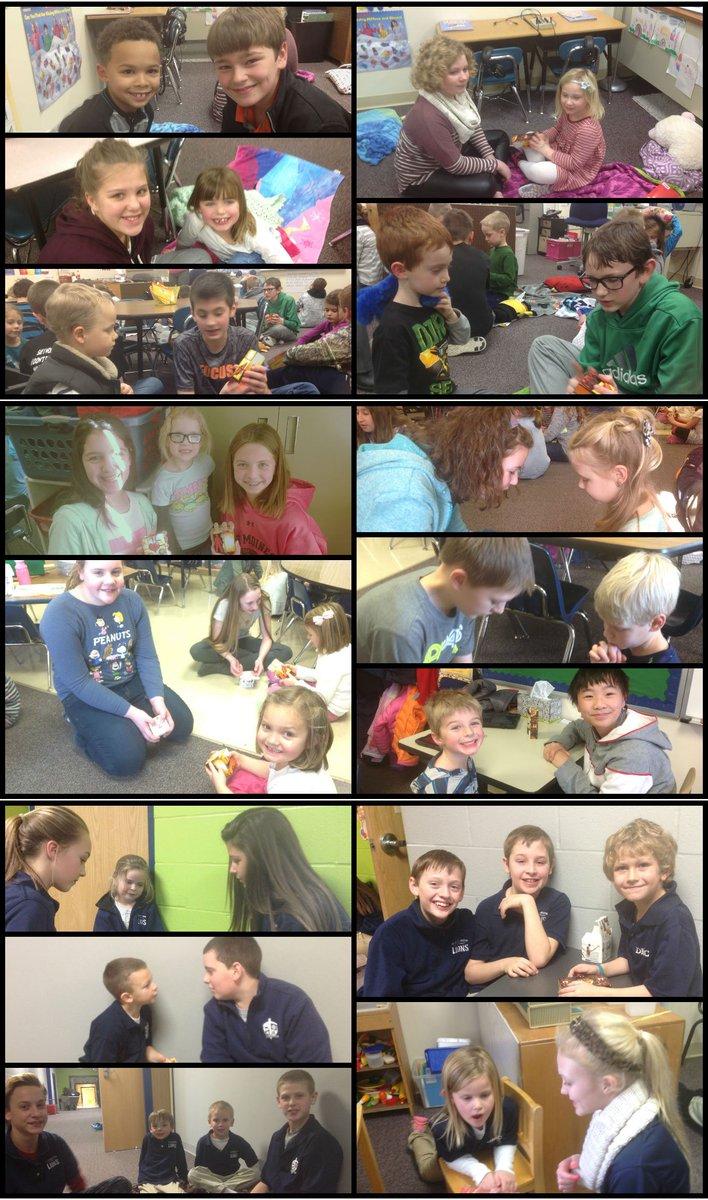 7th graders team up with kindergarteners to practice sharing the gospel story. #littlekidslovebigkids