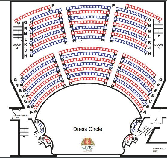 Civic theatre seating chart for Table 52 townsville