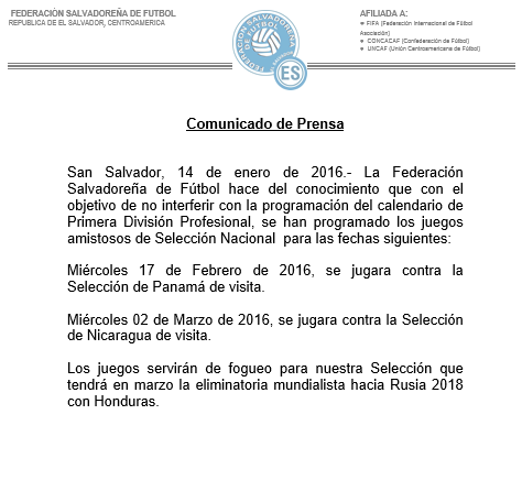 Juegos amistosos contra Panama y Nicaragua en febrero del 2016. CYuOSYqWcAAzWOo