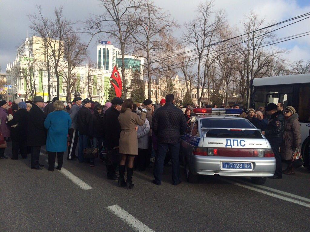 Краснодар протест против отмены льготв в транспорте - 15 января 2016
