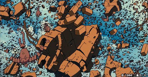崩壊 ラピュタが滅びの言葉によって崩れ落ちるシーン。よく見るとロボットや城のがれきにまじって、ムスカが落ちています。 #ムスカ #ラピュタ城崩壊