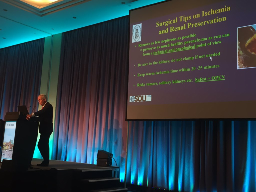 Jaw-dropping lecture on open partial nephrectomy brilliantly delivered by prof Van Poppel at the #ESOU16 @Uroweb https://t.co/En2gM7oEDB